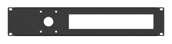 """19"""" 2HE Rackpanel für 10 DIN SicherungsEinheiten + 1x Loch für CEE 3pol Steckvorrichtung"""