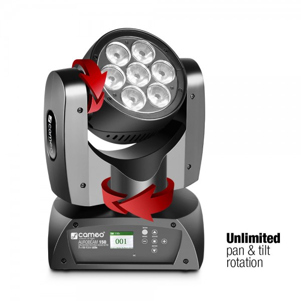 Cameo AURO® BEAM 150 - 7 x 15 W RGBW LED Unlimited Moving Head